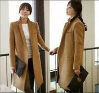 Womens Slim Camel Trench Coat parka Tailored Collar Long Jacket chic Wool Blend