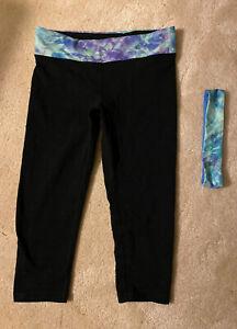 girl's Ivivva leggings cropped capri size 12 black with headband