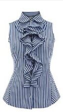 Karen Millen Blue Striped Ruffle Shirt Blouse Size 12