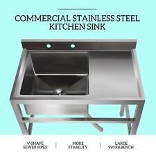 1 Compartment Commercial Restaurant Prep Sink Kitchen Sink w/ Drain Board