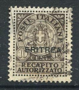 Eritrea 1939 Sass. RA 1 Usato 100% Recapito autorizzato 10 c.