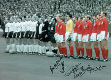 Multi Signed 1966 ENGLAND World Cup Line-Up 16x12 Autograph Photo AFTAL COA