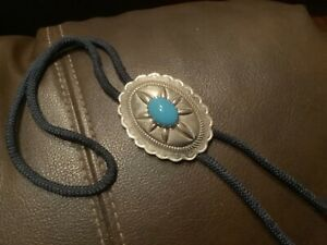 """Big Turquoise Bolo Tie Necklace Western Cowboy 34"""" Cord Rope"""