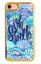 NWT Lilly Pulitzer iPhone 7 Saffiano Case Hard Cover Oh Shello Serene Blue NIB