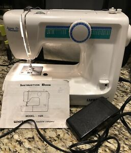 White Blue Jean Sewing Machine Model 1425 With Pedal & Manual Working!