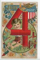 Embossed July 4 Antique Postcard FIREWORKS Boy Cannon Fourth ca. 1908