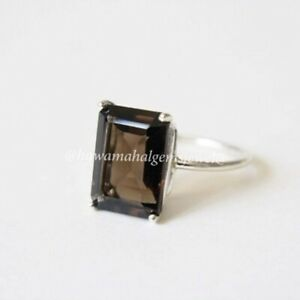 925 Sterling Silver Ring Natural Smoky Gemstone Jewelry Birth Stone Rings