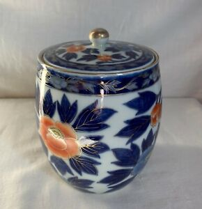Japanese Fukagawa  Koransha biscuit jar. Orange and Blue peonies.Late 19th c.