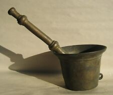 Rare Primitive 19th Century Apothecary Brass Mortar & Pestle with loop on side