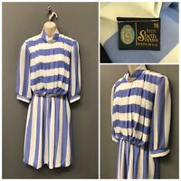Your Sixth Sense Blue White Stripe Pleated Dress UK 16 EUR 44 US 12