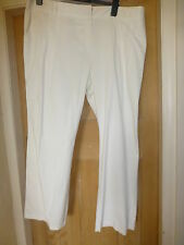 M&S AUTOGRAPH WEEKEND IVORY COTTON MIX WITH STRETCH WIDE LEG TROUSERS 22 30.5""