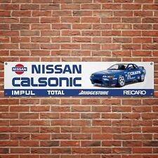 Calsonic Nissan GTR Banner Garage Workshop PVC Sign Trackside Motorsport Display