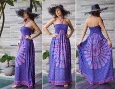 Sexy Fashion Boho Halter Dress Smocked Bodice Balinese Batik Navy/Pink SC322