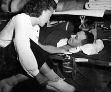 WW2 Photo WWII US Navy Flight Nurse Attends To A Patient World War Two / 1666