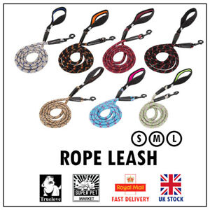 Dog Rope Leash Lead Truelove Strong Red Blue Pink Brown Grey Reflective S M L