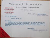 Bicycle 1895 Letterhead-William J Haines Iron & Steel Merchants/Bicycle Supplies