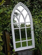 New Gothic Church Arch Wood Window Large Garden Wall Art Decorative Mirror 122cm