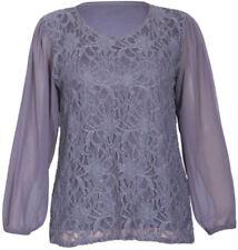 Camisas y tops de mujer de manga larga blusa de color principal gris