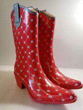 Stadium Stompers Red & Gray  Women's Rubber Cowboy Rain Boots Sz 8 #2609