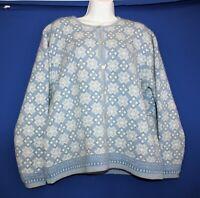ICELANDIC Design Wool Sweater Jacket Blue Snowflake Beaded Size Women's Large