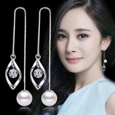 925 Sterling Silver Women Pearl Zircon Ear Line Long Earrings Party Gift