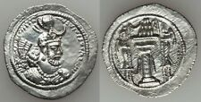 Ancient Persia Sasanian Silver Drachm Yazdgird I AD 399-420 Fire Altar/Attendant