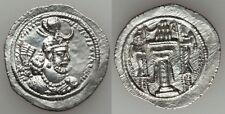 Ancient Persia Sasanian Silver Drachm Yazdgird I AD 399-420 Fire Altar/Attendant
