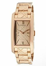 NEW-BURBERRY ROSE GOLD SWISS MADE,STAINLESS STEEL,RECTANGLE WATCH BU1111