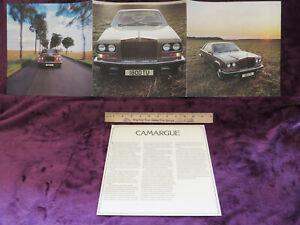 1978 Bentley T2 Sedan Sales Brochure Fact Sheet