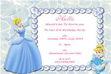 10 Personalised Cinderella Invitations / Thank You Cards