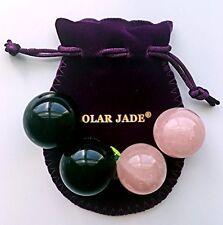 Kegel Balls Set of 4, Made of Rose Quartz and Obsidian Gemstones,2 Sizes, string