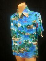 Vgt 70s Island Fashions Hawaiian Shirt Ocean Blue Cabanas Palm Trees Ahoha USA M