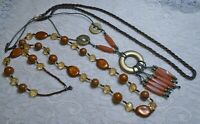 VINTAGE TO NOW BROWN TONES LUCITE & GLASS SEED BEADED LONG NECKLACE LOT