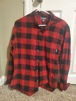 Eddie Bauer Mens Red Buffalo Plaid Flannel Long Sleeve Button Shirt MD NWOT