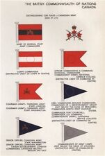 CANADA ARMY CAR FLAGS. Chief of General Staff. Corps/Area Commander 1958 print