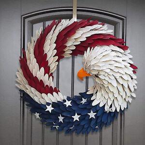 Door Ornaments Flower Garland Front Door Handmade Rattan American Eagle Wreath