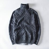 Men Cable Knit Sweater Turtle Neck Jumper Pullover Leisure Knitwear Winter Warm