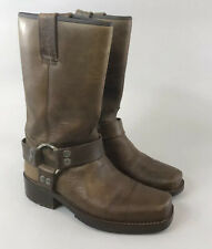 Vtg Dockers 37 UK4 Brown Leather Mid Calf Pull On Cowboy Western Booties Boots