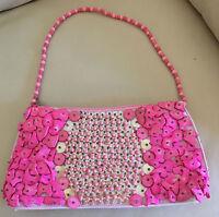 UNIQUE - pinkfarbene Clutch Tasche (handgemacht) Einzelstück Pailletten