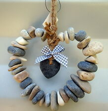 Natural Stone Heart With Rope Hanger House or Garden Decor Mother's Day Gift BN
