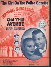 Girl on the Police Gazette 1937 On the Avenue Sheet Music