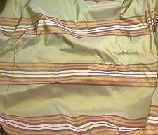"Silk Taffeta Fabric -Gold & Orange Stripes 18""x27"" fat 1/4 remnant"