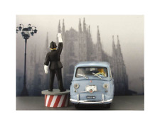 Fiat 600D Multipla 1960 Vigile che intima l'ALT AS52N 1/43 Brumm Made in Italy