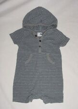 EUC Baby GAP Boys SEASIDE Blue & Gray Striped Hooded Romper 6-12 M