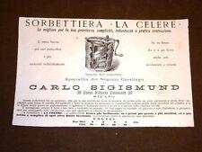 Pubblicità Epoca per Collezionisti di fine '800 Sorbetteria La Celere Sigismund