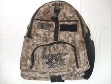 US NAVY SEAL BACKPACK DAY PACK  BOOK COMPUTER  BAG DESERT CAMO  EMBROIDERED
