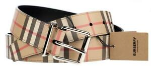 NEW BURBERRY VINTAGE CHECK E-CANVAS PIN BUCKLE BELT 90/36