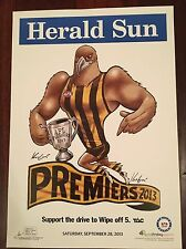 HAWTHORN HAWKS 2013 AFL PREMIERS LTD EDITION KNIGHT POSTER #598/1000 SIGNED