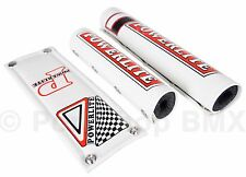 Officially licensed Powerlite 3 Piece VINYL old school BMX Bicycle Padset WHITE