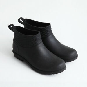 Black Red Mens Rain Ankle Boots Pull on Waterproof Rubber Non-Slip Flats Shoes